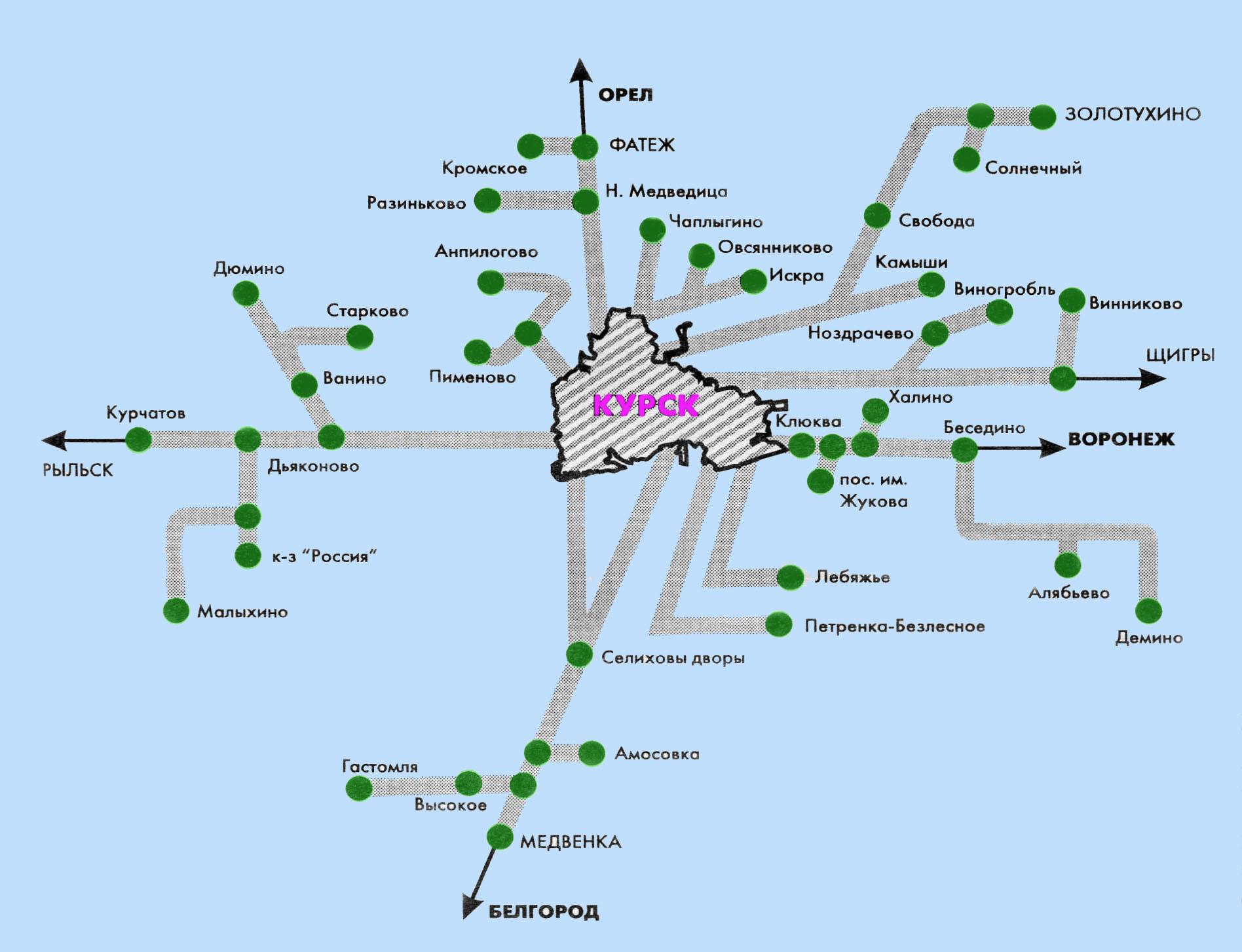 Схема пригородных автобусных маршрутов.